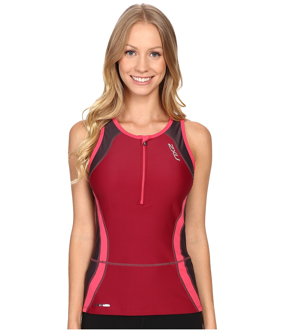 2XU - Perform Tri Singlet (Barberry/Carbon Purple) Women's Clothing