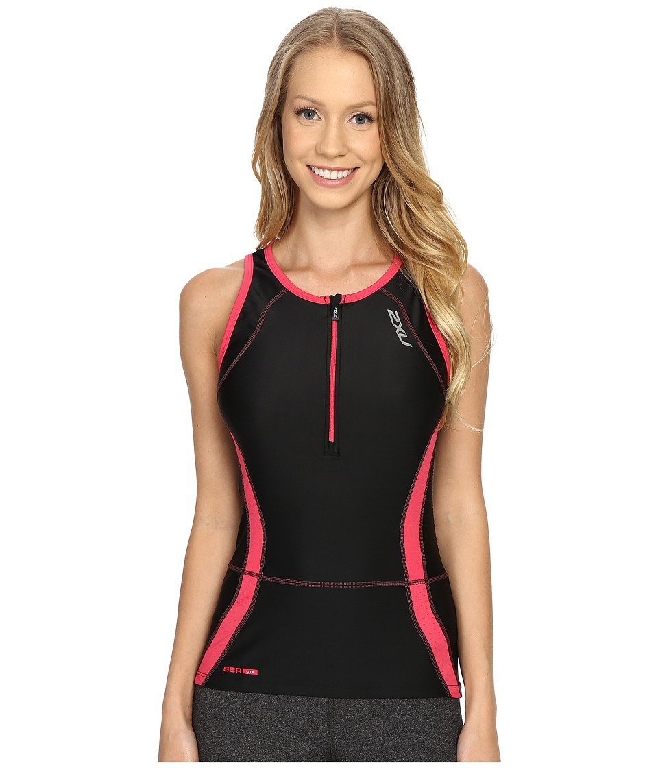 2XU - Perform Tri Singlet (Black/Cherry Pink) Women's Clothing
