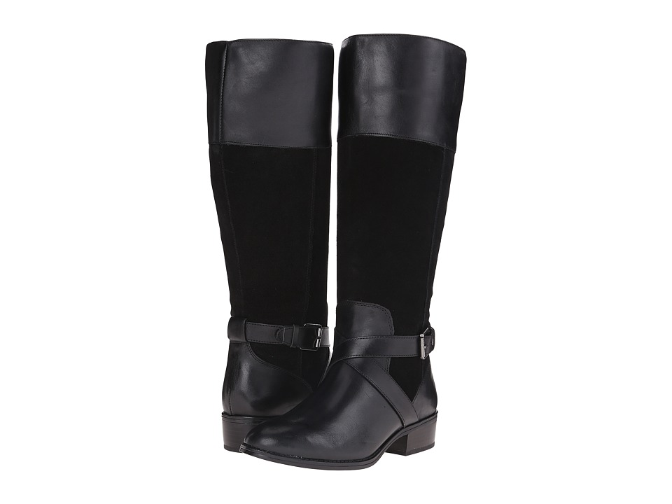 LAUREN Ralph Lauren - Maryann Wide Calf (Black Burn Calf/Sport Suede) Women's Boots