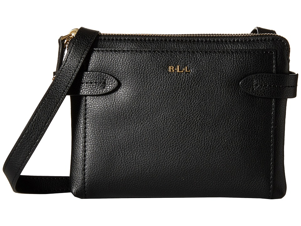 LAUREN by Ralph Lauren - Crawley Double Zip Crossbody (Black/Black) Cross Body Handbags