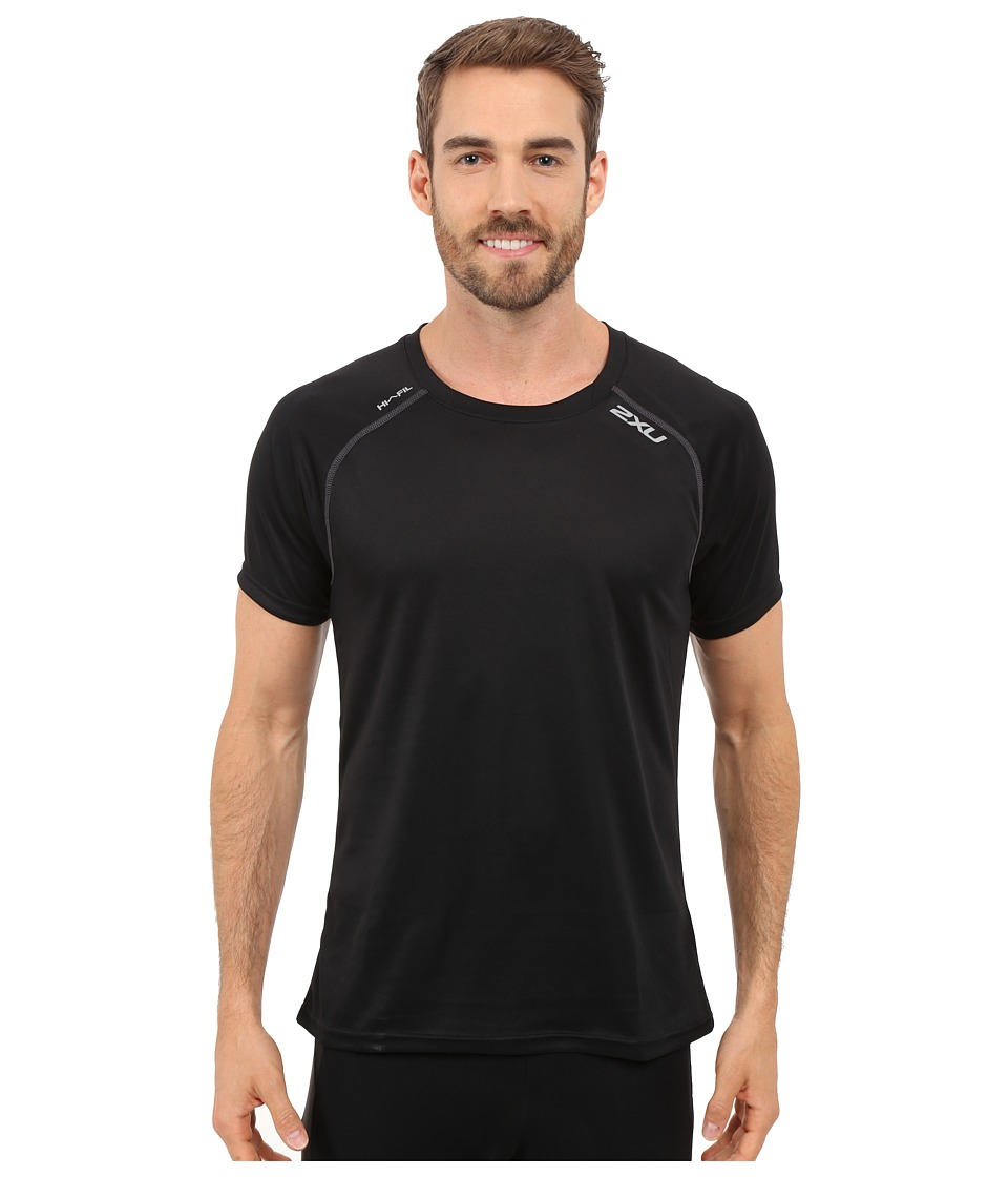 2XU - Tech Vent Two-Tone Short Sleeve Top (Black/Ink) Men's Clothing