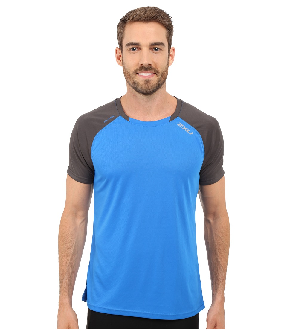 2XU - Tech Vent Two-Tone Short Sleeve Top (Cobalt Blue/Ink) Men's Clothing