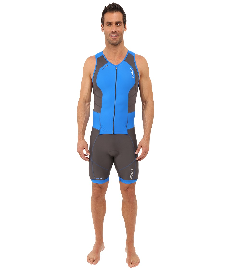 2XU - Perform Full Front Zip Trisuit (Ink/Cobalt Blue) Men's Jumpsuit & Rompers One Piece