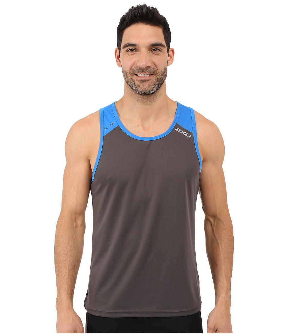 2XU - Tech Vent Two-Tone Singlet (Ink/Cobalt Blue) Men's Clothing