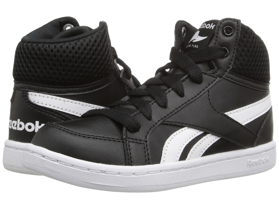 Reebok - Royal Prime Mid (Little Kid/Big Kid) (Black/White) Men's Shoes