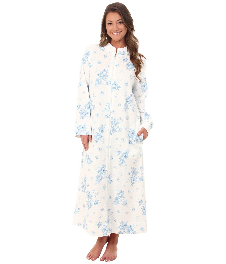 Carole Hochman - Zip Robe (Cascading Floral/Ivory Blue) Women's Robe
