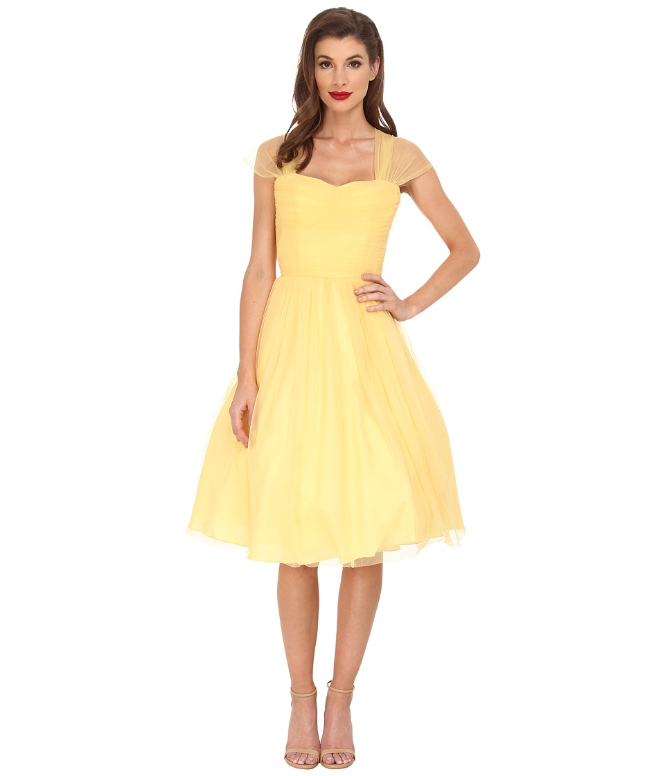Unique Vintage - Chiffon Garden State Dress (Yellow) Women