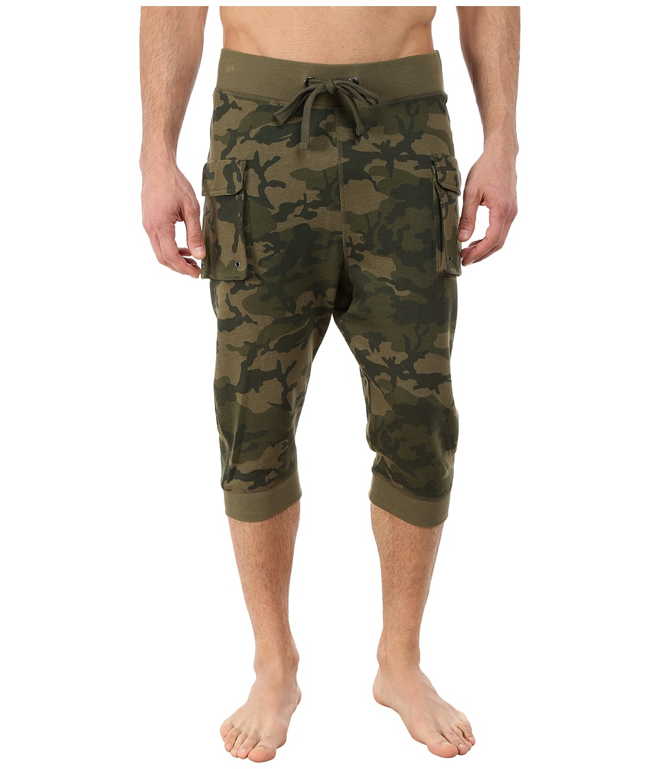2(X)IST - Athleisure - Active Core Cargo Cropped Pants (Olive Camo) Men's Casual Pants