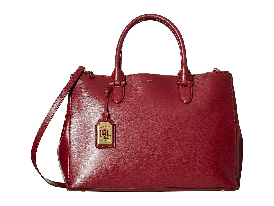 LAUREN by Ralph Lauren - Newbury Double Zip Satchel (Rosewood) Satchel Handbags
