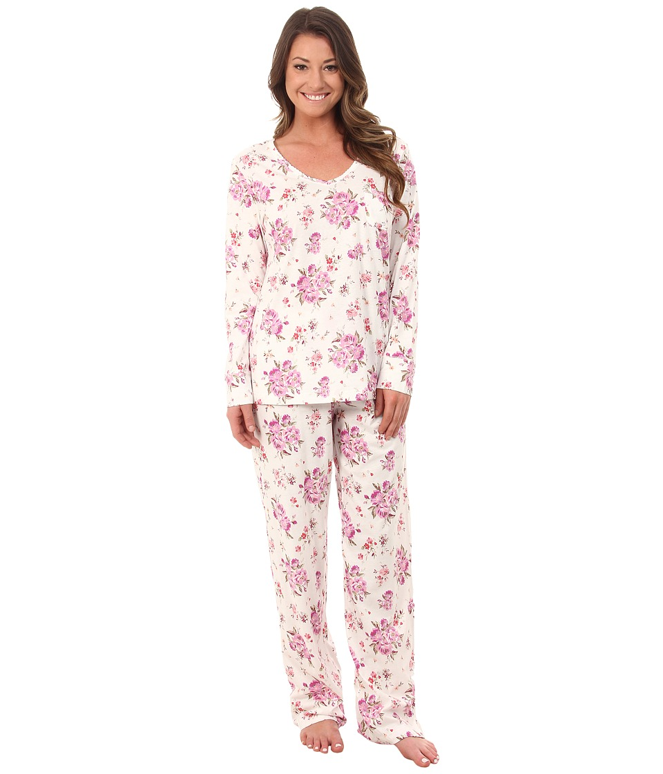 Carole Hochman - Packaged Key Item Pajama (Brush Roses/Ivory) Women's Pajama Sets