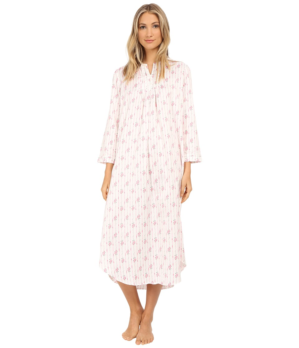 Carole Hochman - Packaged Brush Back Satin Long Gown (Ribbon Wallpaper Stripe/Pink/Ivory) Women's Pajama