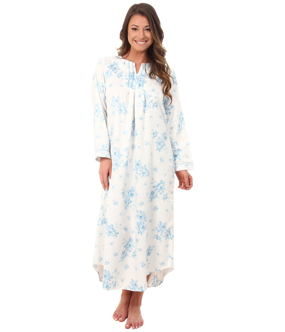 Carole Hochman - Packaged Brush Back Satin Long Gown (Cascading Floral/Ivory/Blue) Women's Pajama