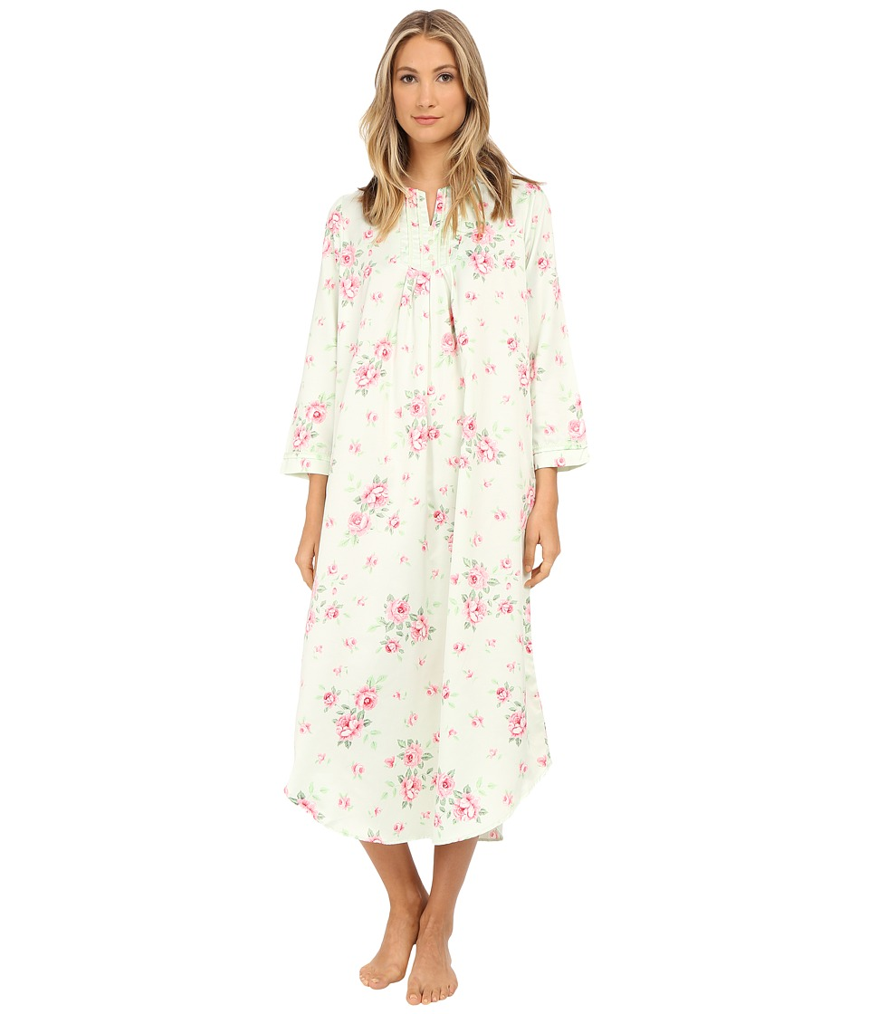 Carole Hochman - Packaged Brush Back Satin Long Gown (Cascading Floral/Celadon) Women's Pajama