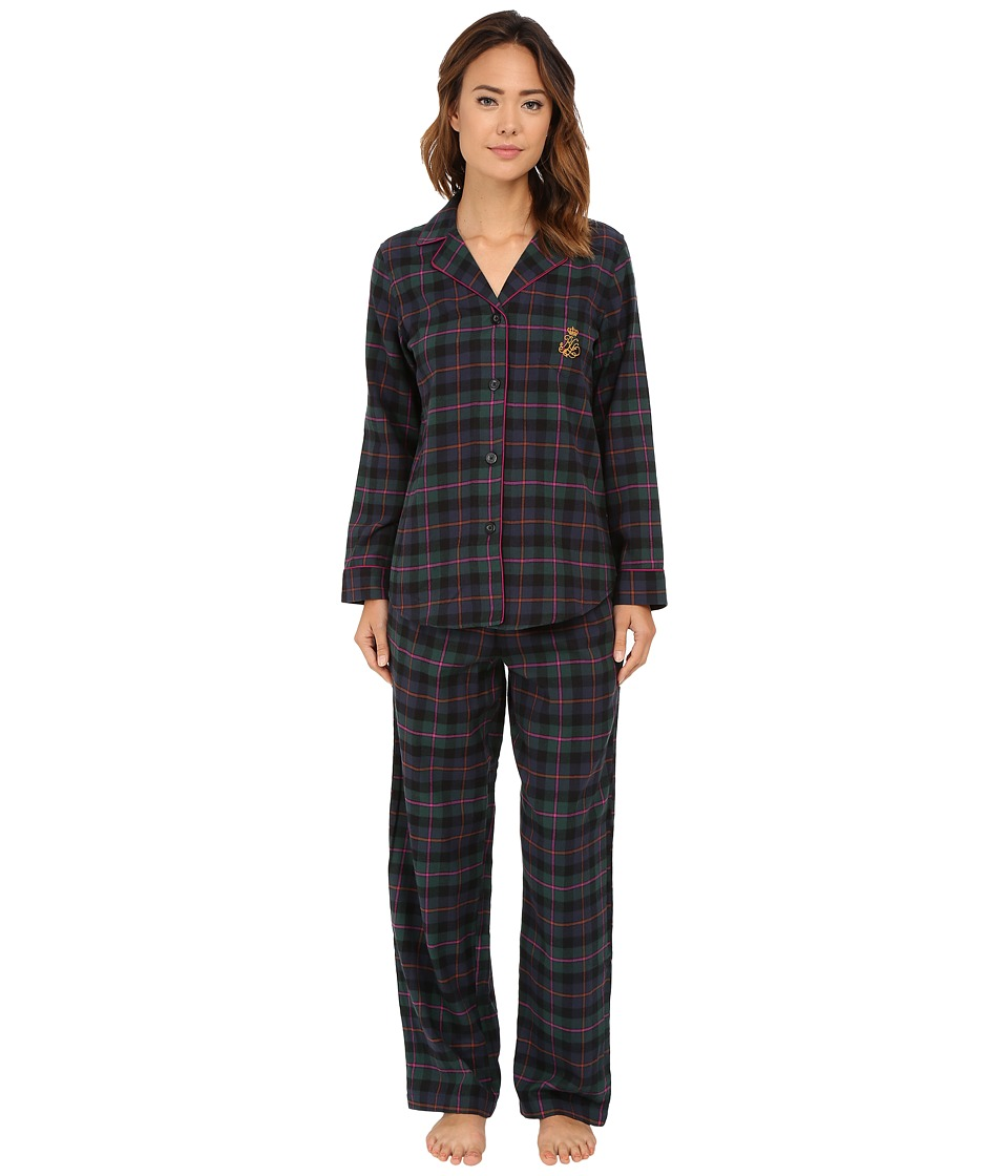 LAUREN Ralph Lauren - Folded Brushed Twill PJ (Wallace Plaid Green/Windsor Navy/Multi) Women's Pajama Sets