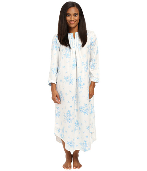 Carole Hochman - Petite Packaged Brush Back Satin Long Gown (Cascading Floral/Ivory/Blue) Women's Pajama