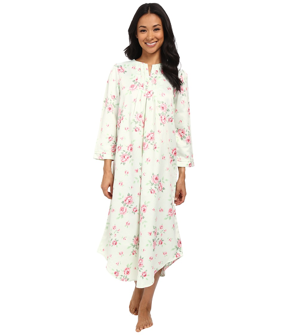 Carole Hochman - Petite Packaged Brush Back Satin Long Gown (Cascading Floral/Celadon) Women's Pajama