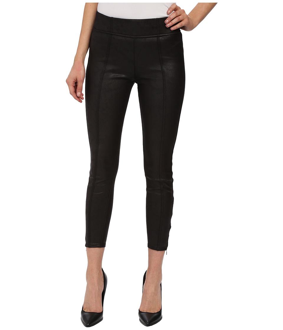 7 For All Mankind Seamed Leggings w/ Ankle Zips in Black Leather-Like (Black Leather-Like) Women