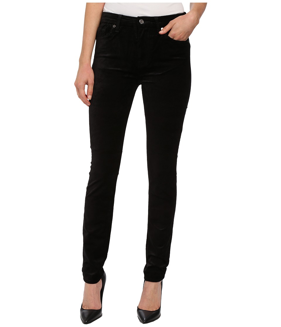 7 For All Mankind - The High Waist Skinny in Black Velvet (Black Velvet) Women