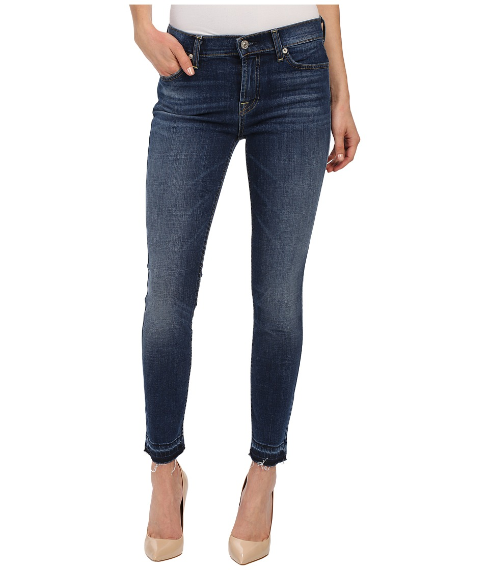 7 For All Mankind - The Skinny w/ Contrast Squiggle Released Hem in La Palma Blue (La Palma Blue) Women's Jeans