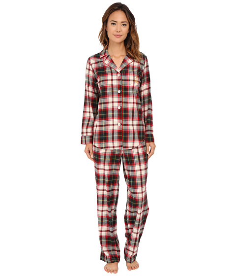 LAUREN by Ralph Lauren - Folded Brushed Twill PJ (Mcintyre Plaid Cream/Red Multi) Women's Pajama Sets