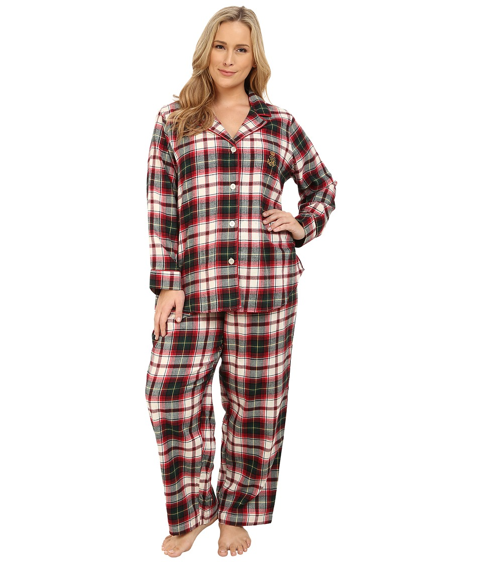 LAUREN Ralph Lauren - Plus Size Folded Brushed Twill PJ (Mcintyre Plaid Cream/Red Multi) Women's Pajama Sets