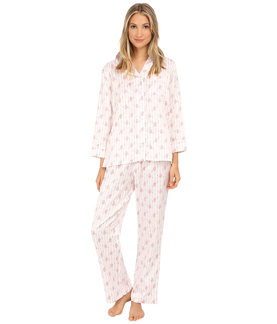 Carole Hochman - Packaged Brush Back Satin Pajama (Ribbon Wallpaper Stripe/Pink/Ivory) Women's Pajama Sets