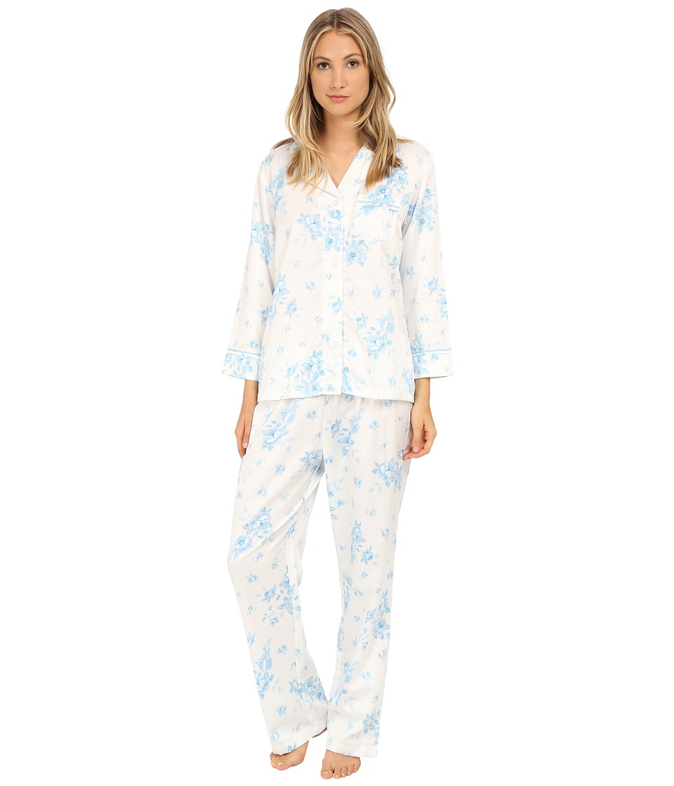Carole Hochman - Packaged Brush Back Satin Pajama (Cascading Floral/Ivory/Blue) Women's Pajama Sets