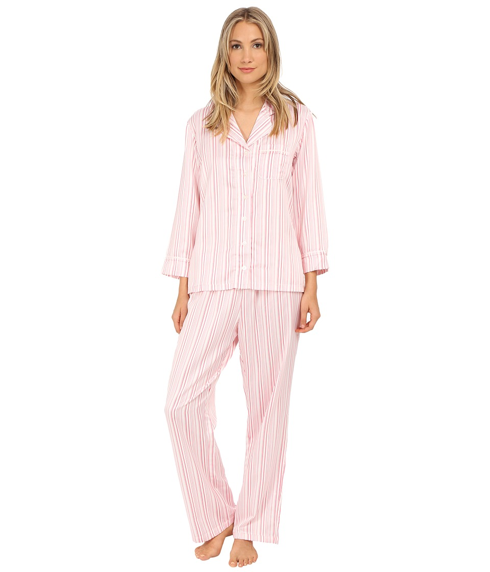 Carole Hochman - Packaged Brush Back Satin Pajama (Hampton Stripe/Ivory/Pink Lemonade) Women's Pajama Sets