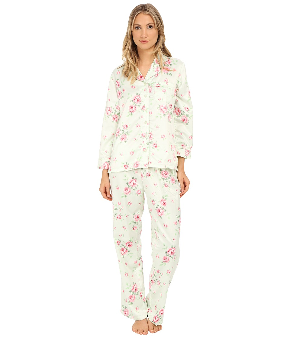 Carole Hochman - Packaged Brush Back Satin Pajama (Cascading Floral/Celadon) Women's Pajama Sets
