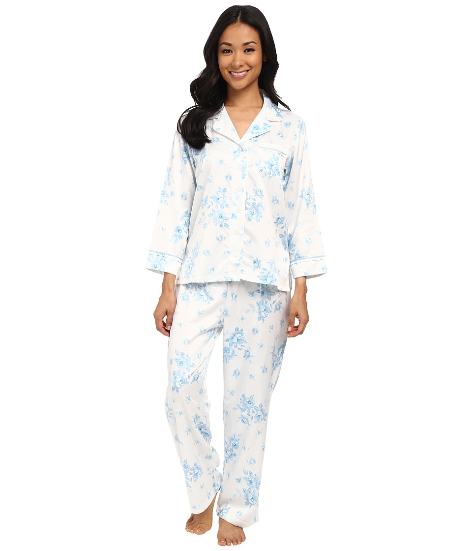 Carole Hochman - Petite Packaged Brush Back Satin Pajama (Cascading Floral/Ivory/Blue) Women