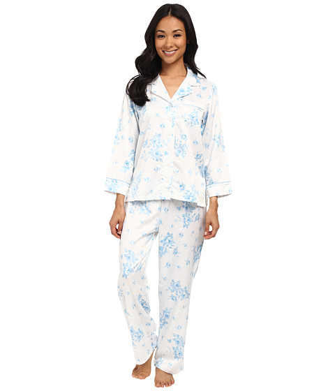 Carole Hochman - Petite Packaged Brush Back Satin Pajama (Cascading Floral/Ivory/Blue) Women's Pajama Sets