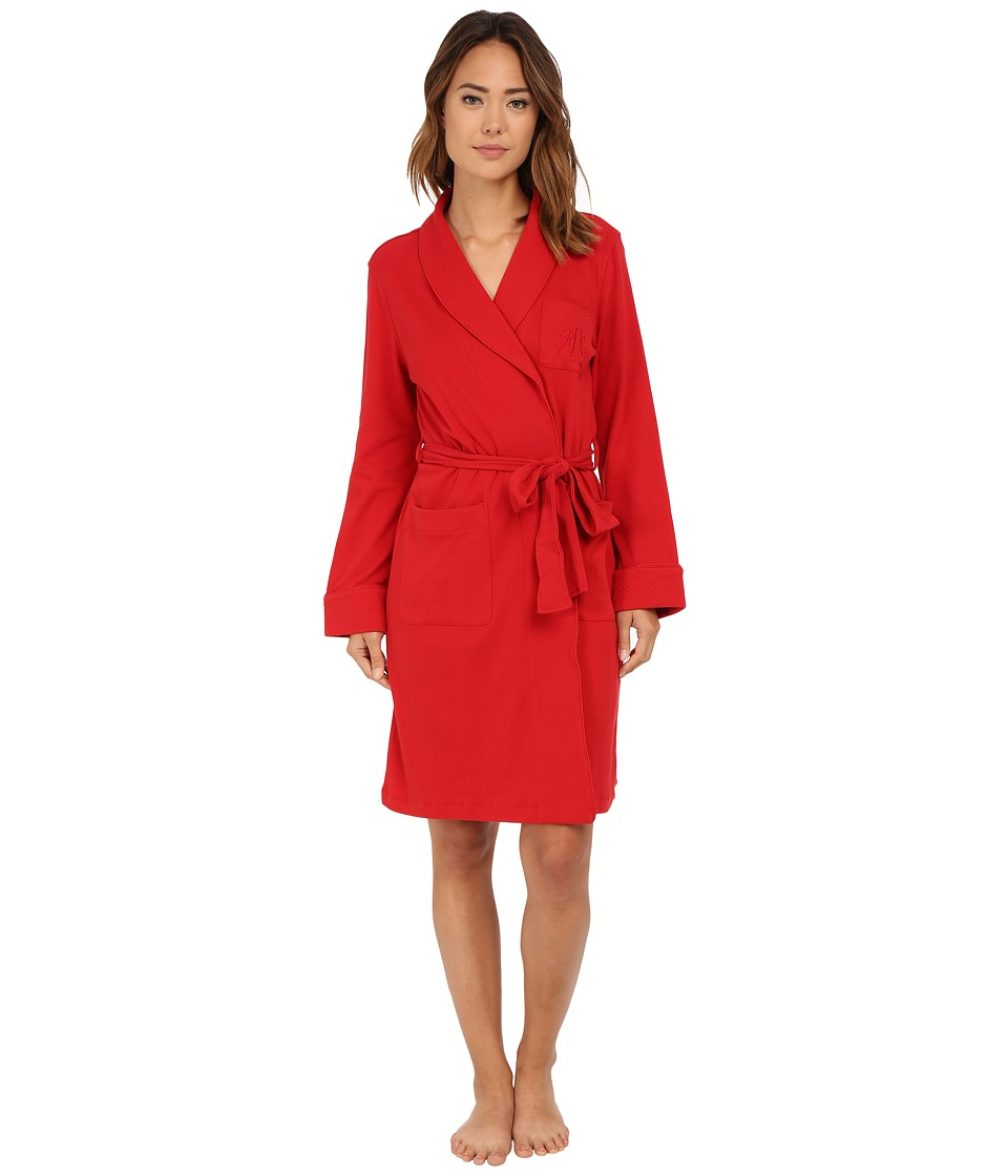 LAUREN Ralph Lauren - Essentials Quilted Collar and Cuff Robe (Holiday Red) Women's Robe