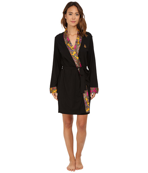 LAUREN by Ralph Lauren - Kimono Satin Wrap Robe (Emerson Paisley Multi) Women's Robe