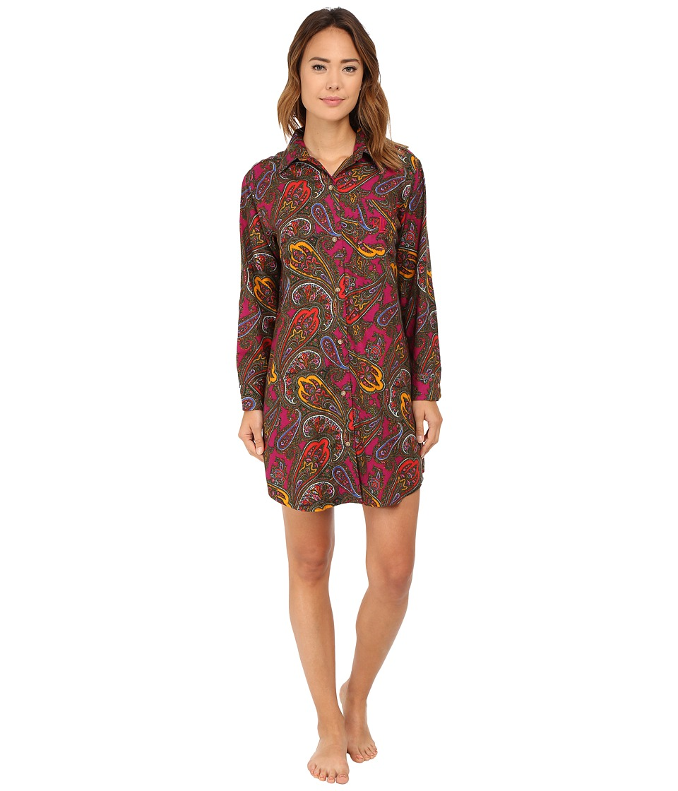 LAUREN Ralph Lauren - Flannel Sleepshirt (Addison Paisley Magenta Multi) Women's Pajama
