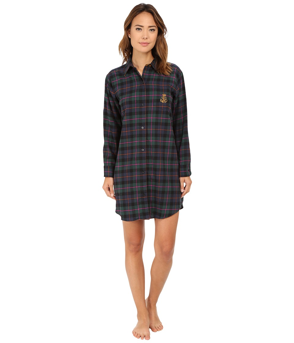 LAUREN Ralph Lauren - Brushed Twill Sleepshirt (Wallace Plaid Green/Windsor Navy/Multi) Women's Pajama