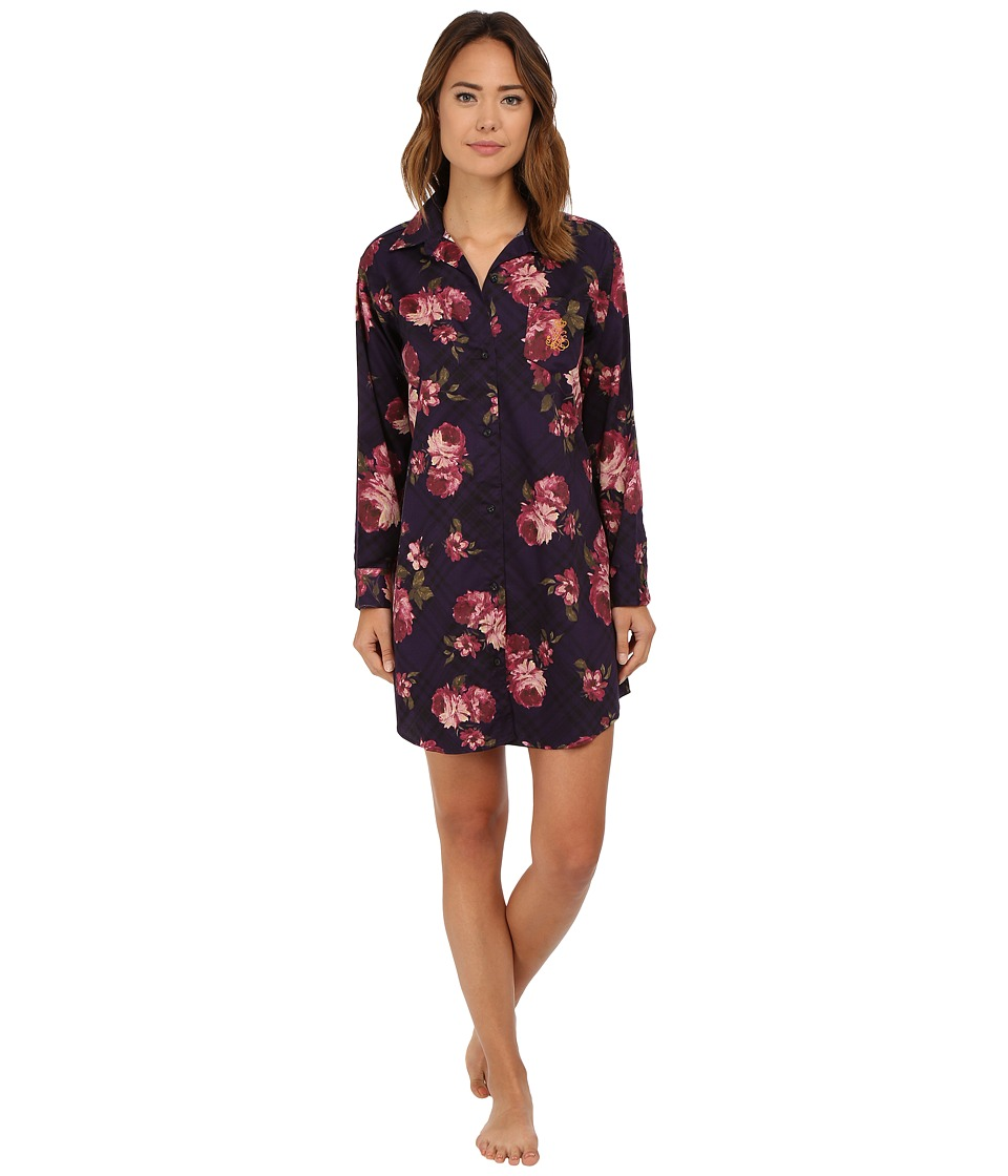 LAUREN Ralph Lauren - Sateen His Shirt (Christine Plaid/Floral Aubergine) Women's Pajama