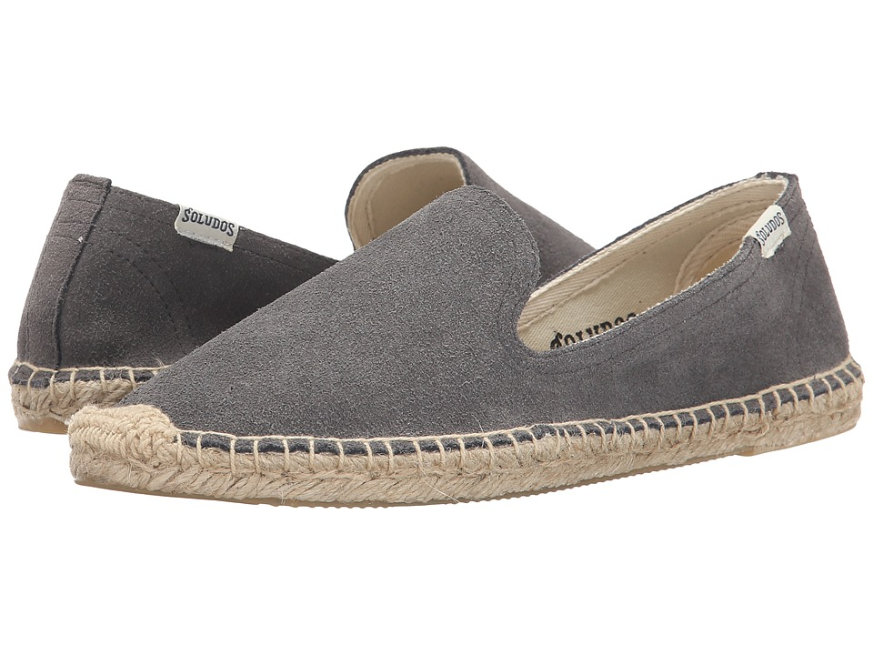 Soludos - Suede Smoking Slipper (Charcoal Suede) Women