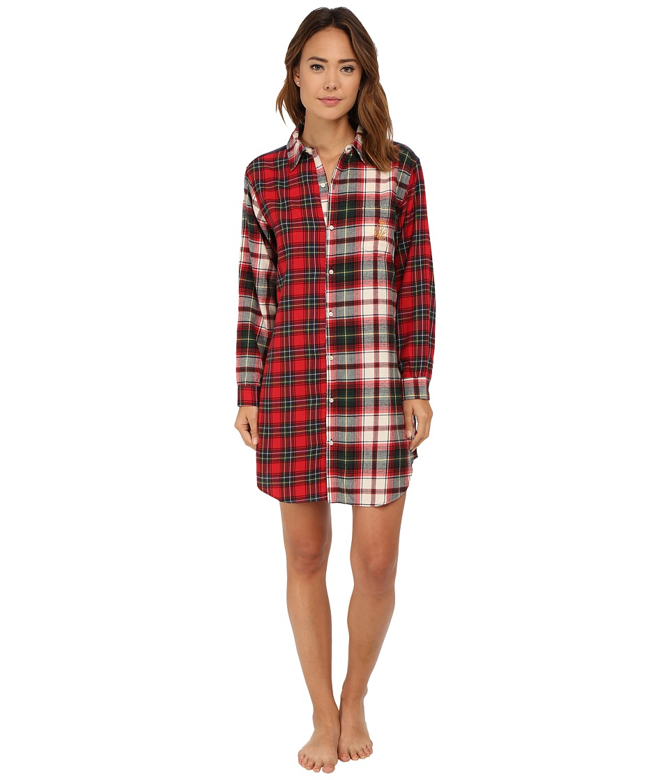 LAUREN Ralph Lauren - Mix Media Sleepshirt (Mcintyre Plaid Cream) Women