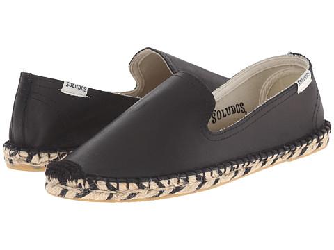Soludos - Zebra Jute Bottom Smoking Slipper (Black Leather) Women