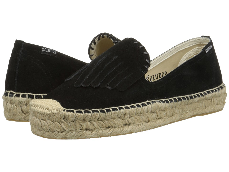 Soludos - Leather Fringe Smoking Slipper Platform (Black) Women