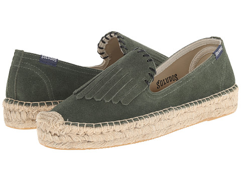 Soludos - Leather Fringe Smoking Slipper Platform (Moss Green) Women