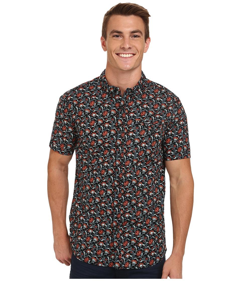 Rip Curl - Flower Field Short Sleeve Shirt (Black) Men's Clothing