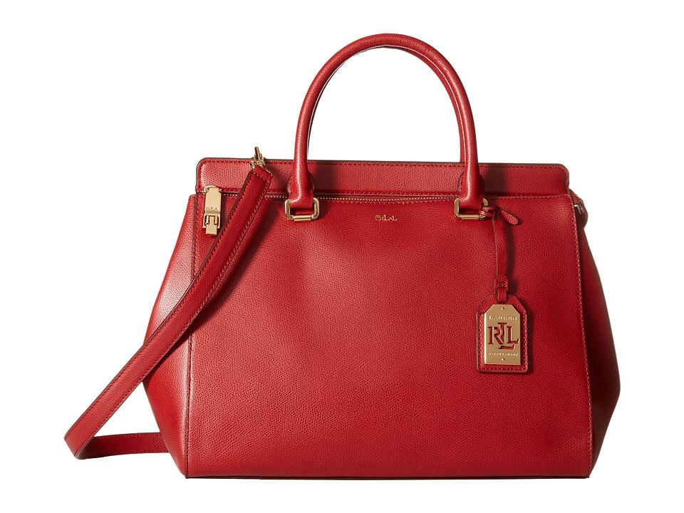 LAUREN by Ralph Lauren - Whitby Large Convertible Satchel (Fall Red) Satchel Handbags