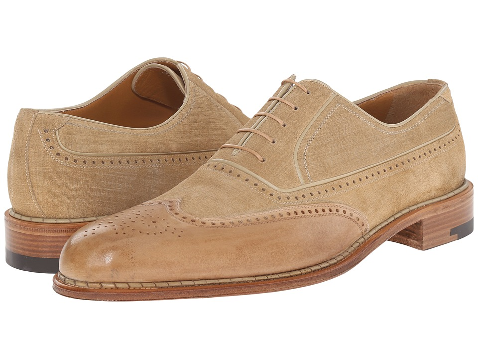 a. testoni - Black Label Linen Suede Delave Calf Wingtip Oxford (Nude) Men's Lace Up Wing Tip Shoes