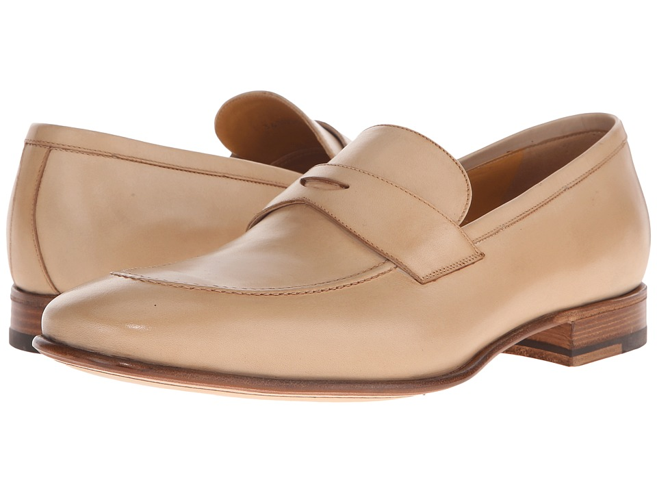 a. testoni - Delave Calf Clean Penny Loafer (Nude) Men's Slip on Shoes