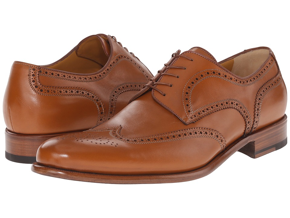 a. testoni - Lux Calf Anticato Wingtip Oxford (Caramel) Men's Lace Up Wing Tip Shoes