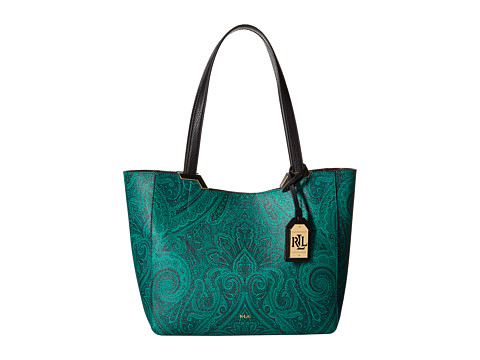 LAUREN by Ralph Lauren - Acadia Paisley Shopper (Jewel Green) Handbags