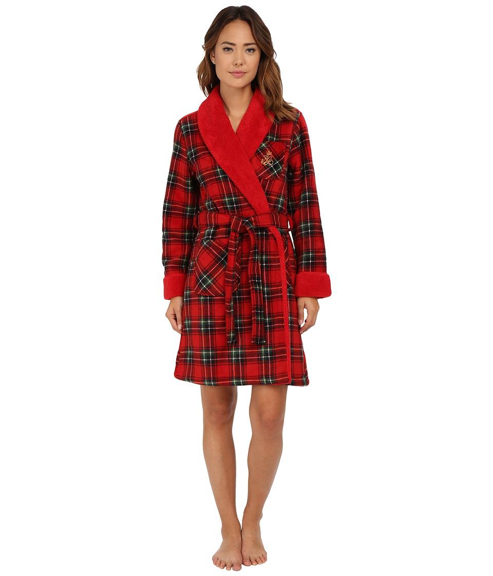 LAUREN Ralph Lauren - Bonded Sherpa Short Robe (Anderson Plaid/Holiday Red) Women's Pajama