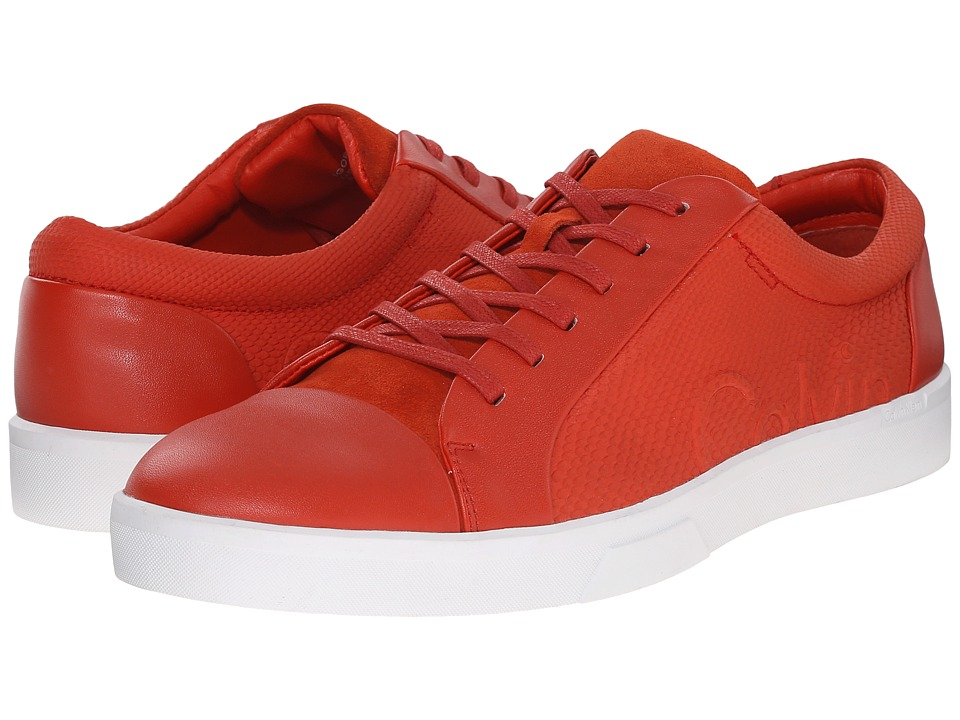 Calvin Klein - Igor (Red Orange Leather/Smooth) Men's Lace up casual Shoes