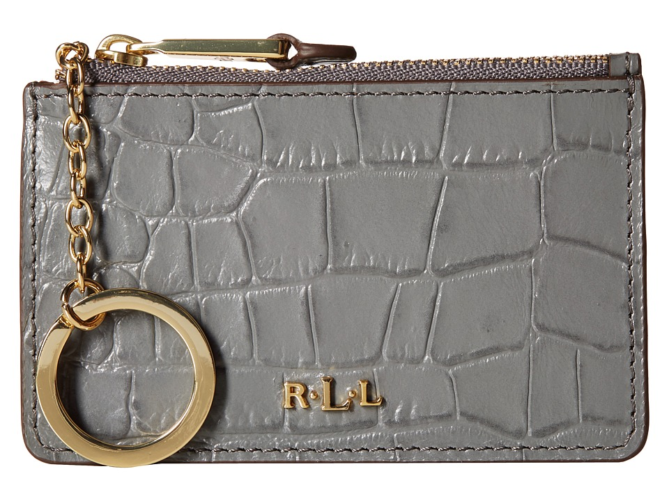 LAUREN by Ralph Lauren - Darwin Embossed Croc Mini Key Case (Steel Grey) Handbags